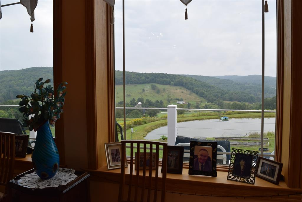 Views of the pond and rolling hillside out the Dining Room picture windows!